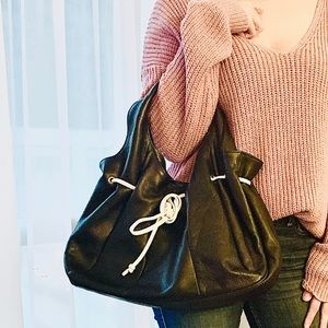 Soprano | Leather Satchel Ruched Bag